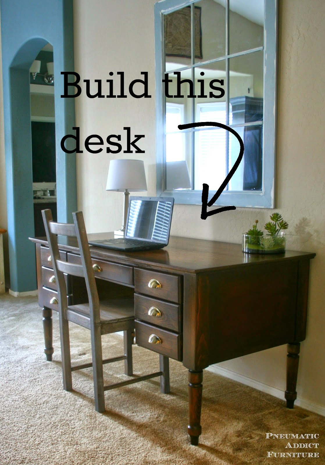 Don't spend hundreds on a designer desk! Build you own, solid wood Printer's desk for a fraction of the price. Free building plans included.