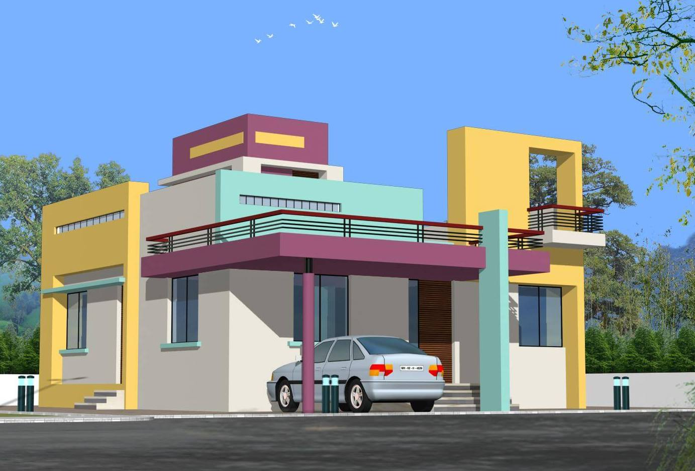 House front elevation single story 3d design photo picture for Home wallpaper chennai