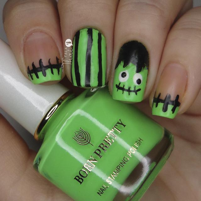 Unhas de Halloween Frankenstein