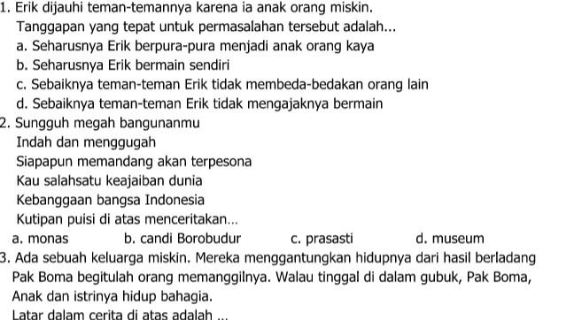 Contoh Soal UKK Bahasa Indonesia Kelas 5 SD Semester 2