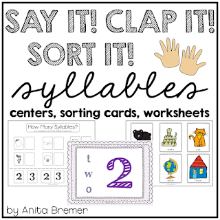 Lots of great activities to practice syllables- perfect as a literacy center!
