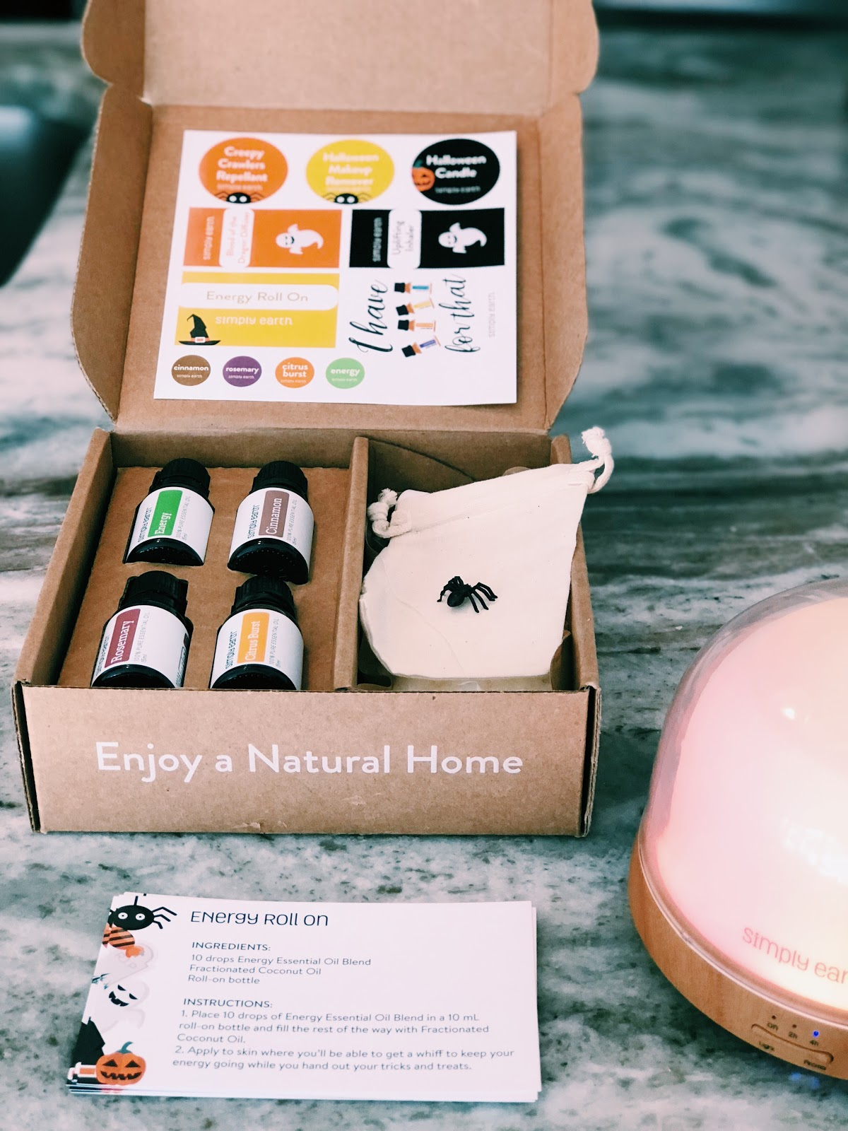 Simply Earth's Essential Oils Recipe Box for October Is