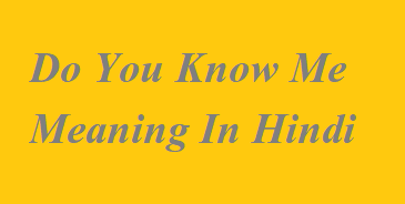 Do You Know Me Meaning In Hindi