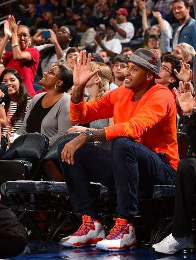 4aeb523e813e65 Celeb Sneaker Game  Carmelo Anthony Wearing Air Jordan 10 Knicks PE ...
