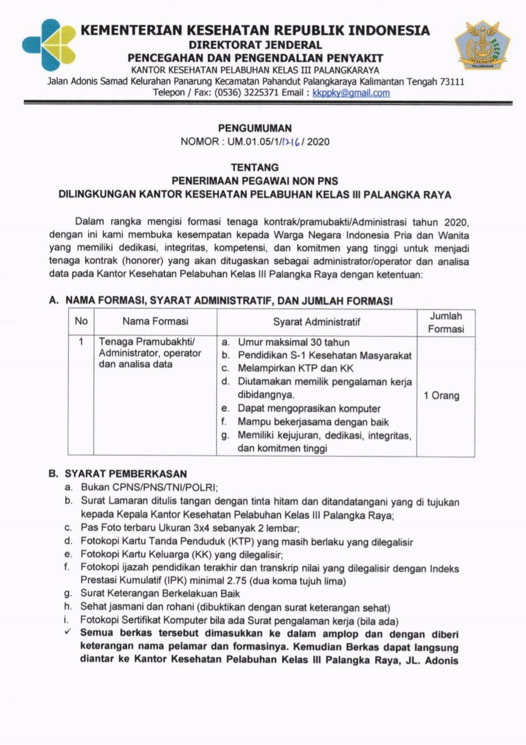 Penerimaan Pegawai Non PNS KKP Kelas III Palangka Raya