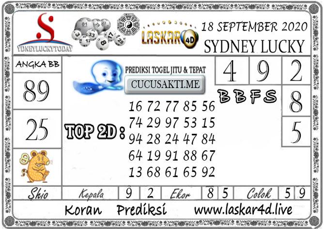 Prediksi Sydney Lucky Today LASKAR4D 18 SEPTEMBER 2020