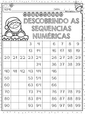 Atividades de Matemática, BNCC, Natal, sequencia numerica, Sistema de numeração decimal,