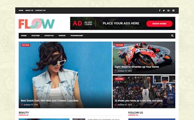 Flow Magazine mobile friendly blogger template
