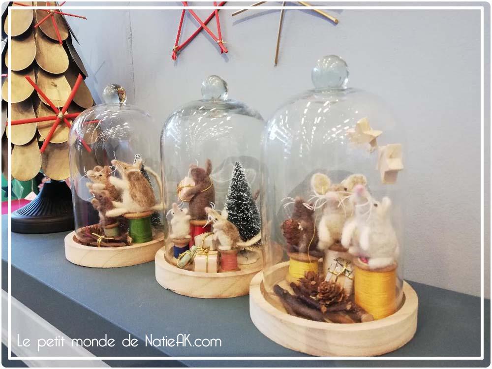 cloche sous verre : ambiance de Noël