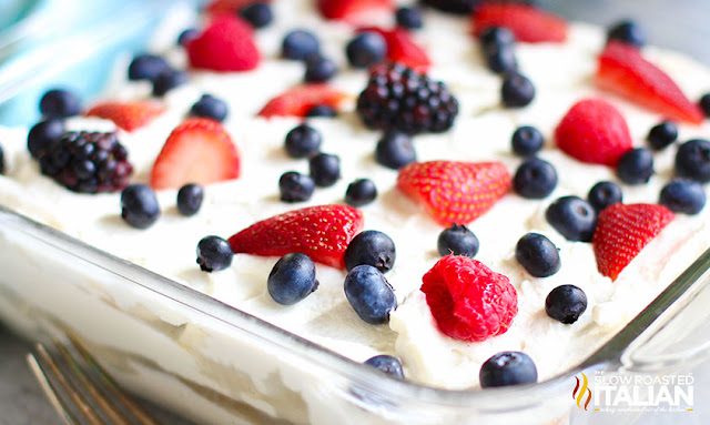 Summer Berry Icebox Cake in a pan