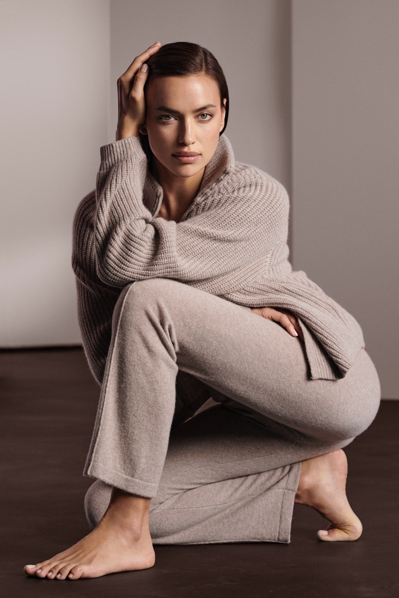 Irina Shayk wears neutral knit pieces for NAKEDCASHMERE fall 2021 campaign