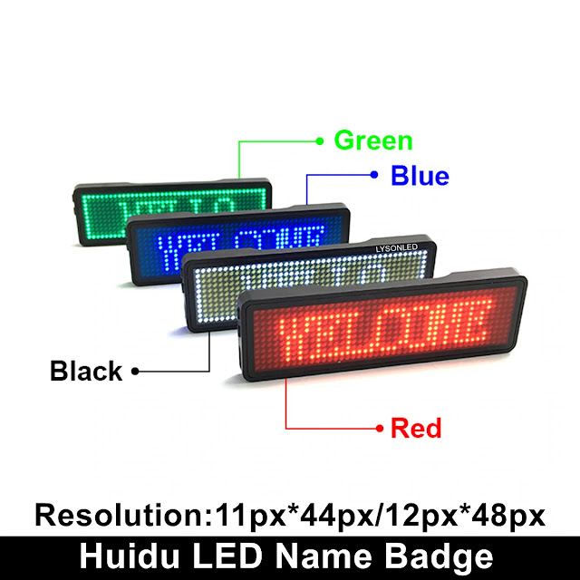 Rechargeable Led Name Badge Single Color Scrolling Message