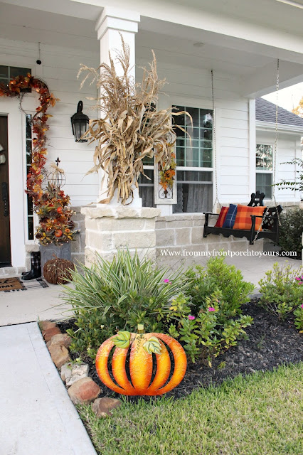 Farmhouse Style Fall Porch Decorations-Metal Pumpkin-Corn Stalks-Porch Swing-From My Front Porch To yours