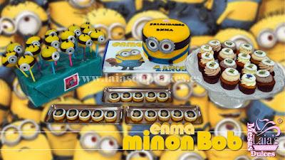 Tarta personalizada de fondant Mesa dulce Minion Bob. Laia's Cupcakes Puerto Sagunto