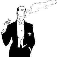 Drawing of a man in a tux blowing smoke