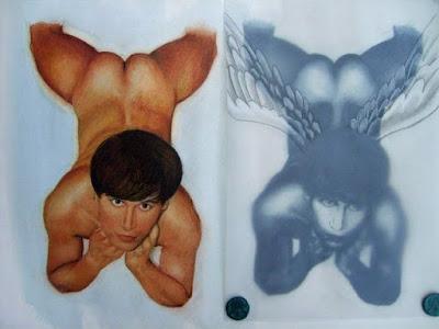 autoportrait nu,sceaux,papier chiffon,calque,dessin,icare,garçon nu,garçon ailé