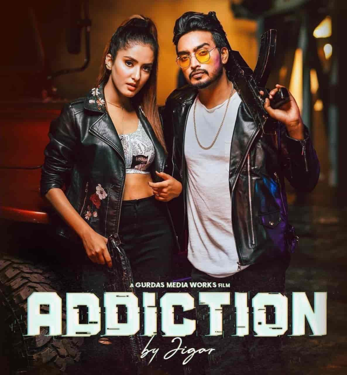 Addiction Punjabi Song Image Features Jigar And Akaisha Vats.