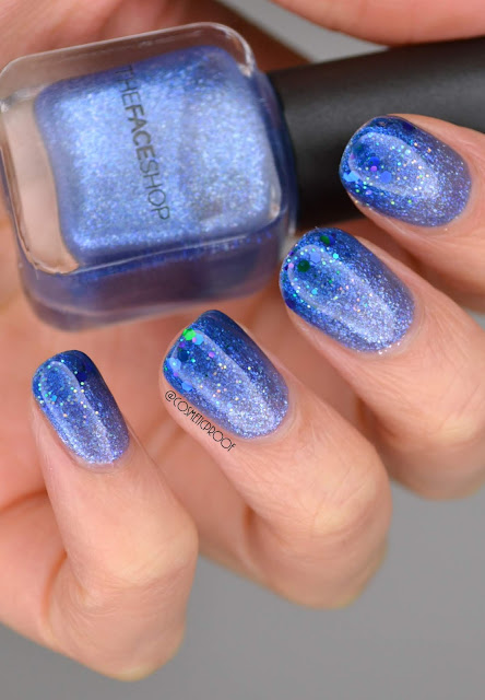 Blue Glitter Gradient Nail Art
