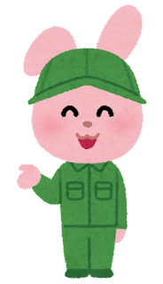 作業服を来た動物のキャラクター(うさぎ)