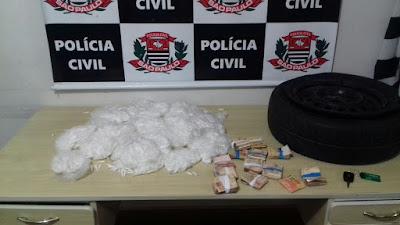 POLÍCIA CIVIL DE REGISTRO-SP PRENDE TRAFICANTE COM ENORME QUANTIDADE DE COCAÍNA E DINHEIRO