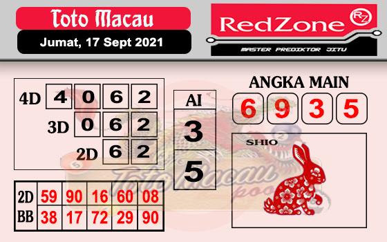 Redzone Macau Jumat 17 September 2021