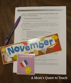 Veterans Day Lesson and calendar header for November