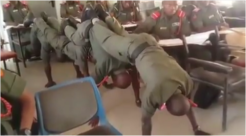 See How Nigerian Cadets Were Punished For Sleeping In Class