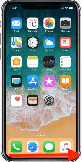 كيفية الانتقال لآخر تطبيق استخدمته في ايفون X بحركة واحدة من على الشاشة الرئيسية