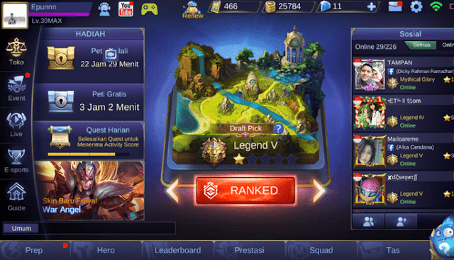 akun ml legend gratis
