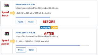 Hasil Meningkatkan Kecepatan Download Google Chrome Menyamai IDM