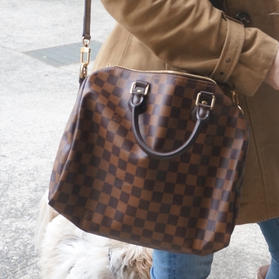 Trench coat and Louis Vuitton speedy bandouliere damier ebene 30 | Away From The Blue