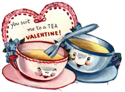 you suit me to a tea vintage cup and saucer valentine card