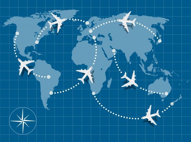 O avião nunca voa em linha reta no mapa