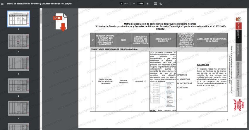 MINEDU: Formato de absolución de comentarios y aportes a la propuesta de Norma Técnica «Criterios de Diseño para Institutos y Escuelas de Educación Superior Tecnológica»