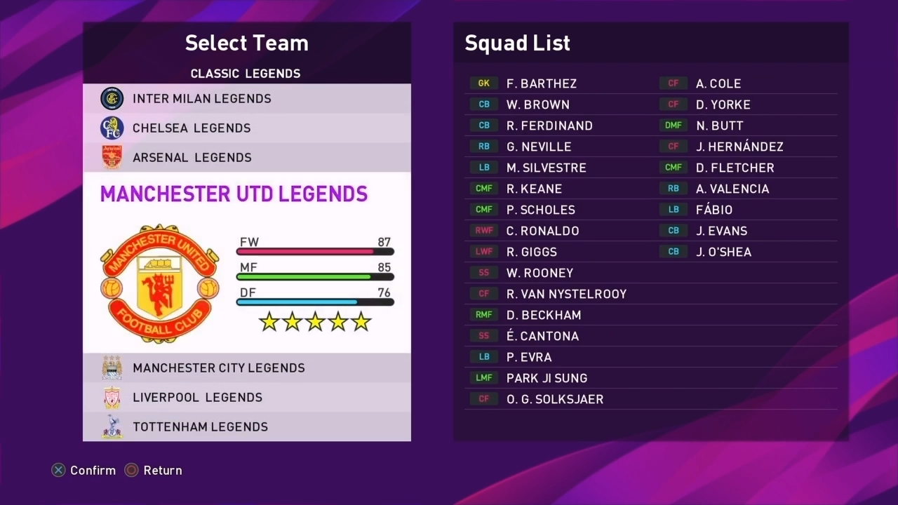 EFootball PES 2020 PS4 Classic Legends Option File By