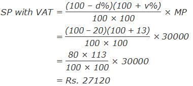 """SP with VAT = """"(100 – d%)(100 + v%)"""" /""""100 × 100""""  × MP                = """"(100 – 20)(100 + 13)"""" /""""100 × 100""""  × 30000                       = """"80 × 113"""" /""""100 × 100""""  × 30000                 = Rs. 27120"""