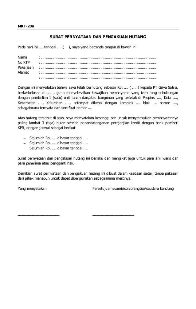 Contoh Surat Pernyataan Kesanggupan Membayar Spp - Bagikan ...