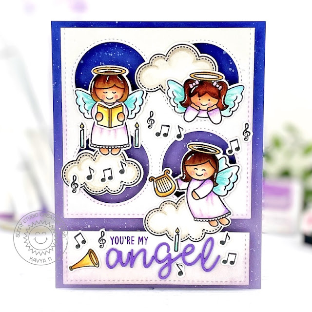 Sunny Studio Stamps: Stitched Rectangle Dies Window Quad Dies Little Angels Everyday Card by Kavya