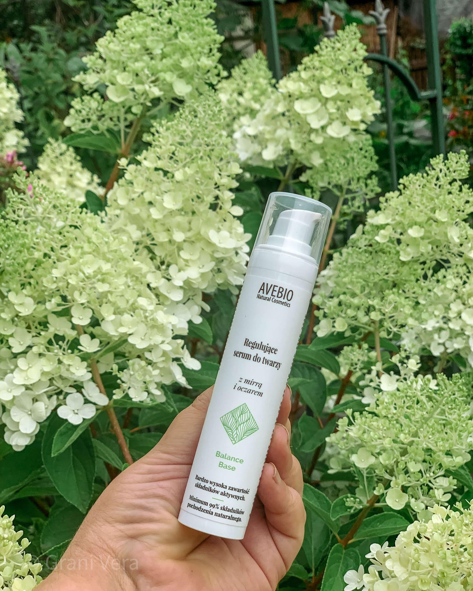 Avebio, regulujące serum do twarzy, z mirrą i oczarem, balance base, dla cery tłustej