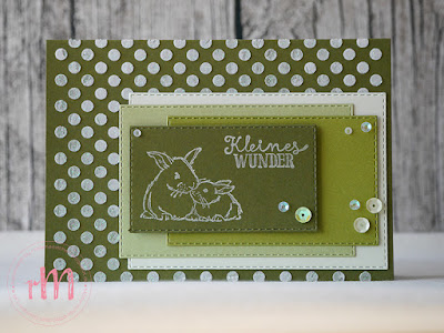Stampin' Up! rosa Mädchen Kulmbach: Babykarte in Grün mit Struckturpaste, Im Babyglück und Bestickte Rechtecke