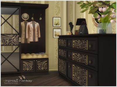 Virginia II hallway Прихожая Вирджиния II для: The Sims 4 Набор мебели и декора для оформления прихожей. Но вы можете использовать его для украшения спальни. Основной цвет мебели - деревянные цвета, 3 цвета декоративных вставок. В набор входит 11 предметов: - шкаф с зеркальными дверями - секционная вешалка - большой комод - узкий комод - настольная лампа - круглое зеркало - рисунок 4 варианта одежды: - мужское пальто - женское пальто - два пальто и шляпа - шляпа Автор:Severinka_