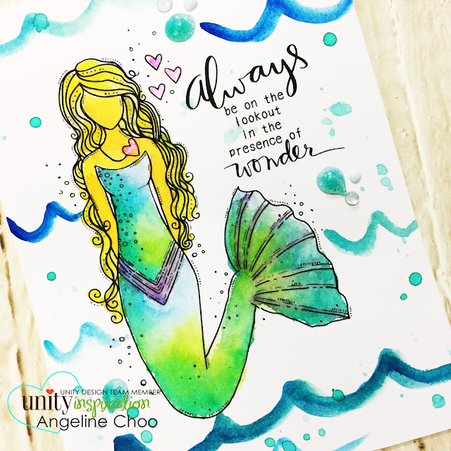 ScrappyScrappy: [NEW VIDEOS] March Unity Stamp Blog Hop - Adella Girl #scrappyscrappy #unitystampco #janedavenport #watercolor #mermaid #tonicstudios #nuvodrop #janedavenportwatercolor #adellagirl #card #cardmaking #youtube #quicktipvideo
