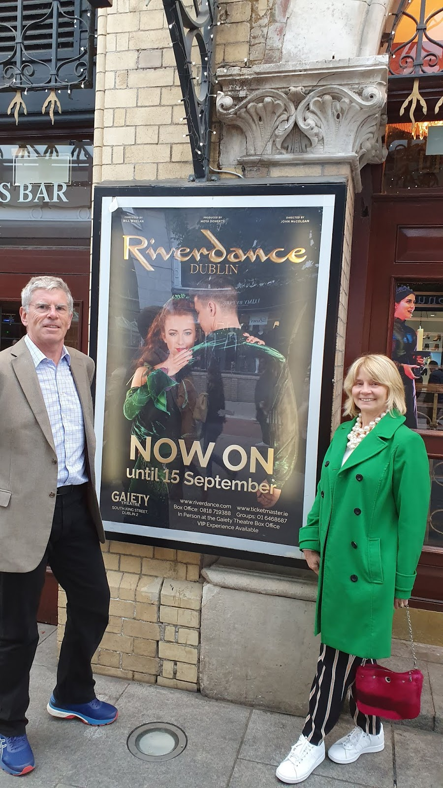 Fashion blogger Gail Hanlon and husband outside the Gaiety Theatre in Dublin for a performance of Riverdance
