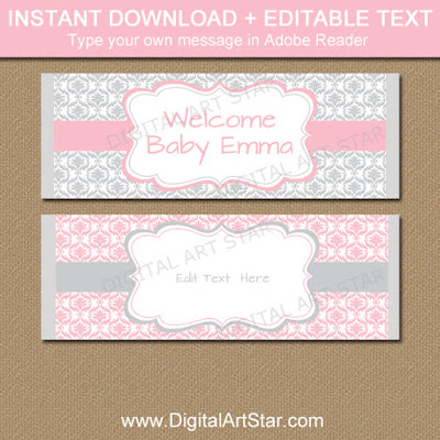 pink and gray damask candy bar wrappers to use as party favors for your baby shower, wedding, birthday, bridal shower