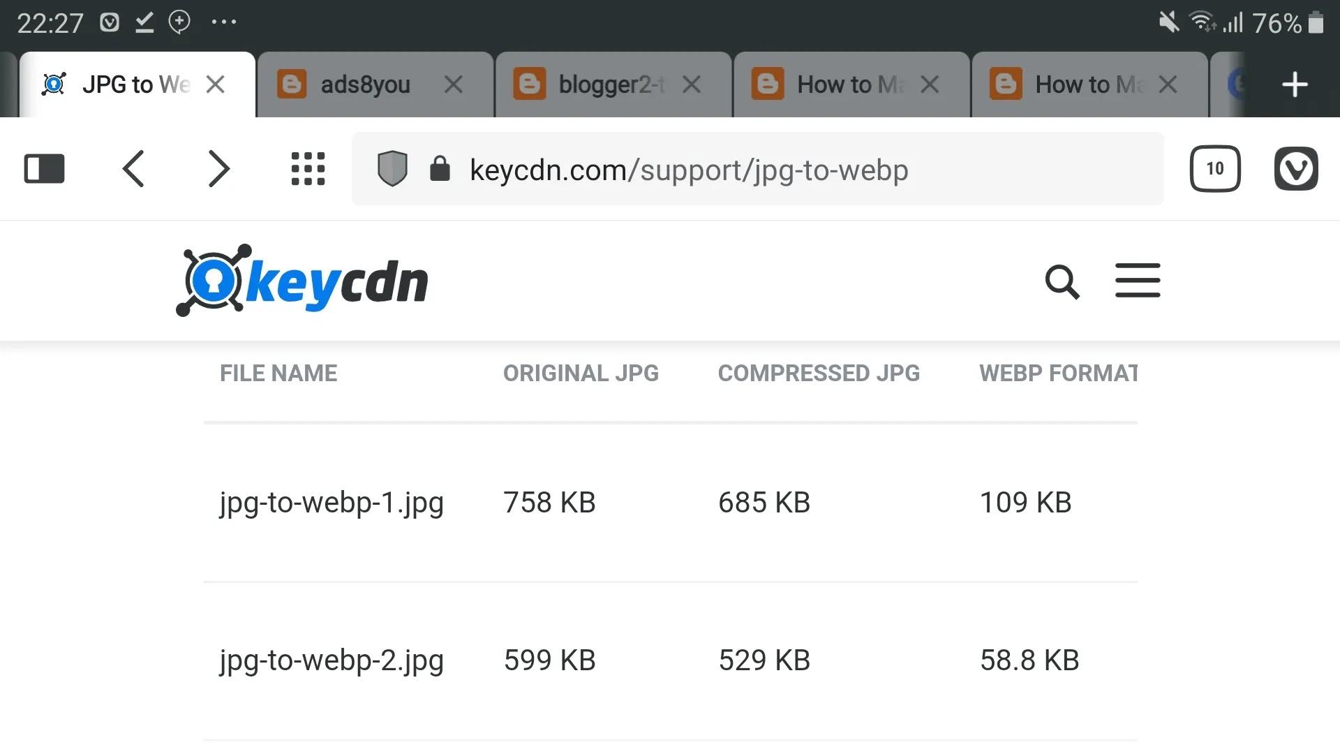 طريقة إنشاء أداة تحويل الصور الى تنسيق WebP Image على صفحة بلوجر