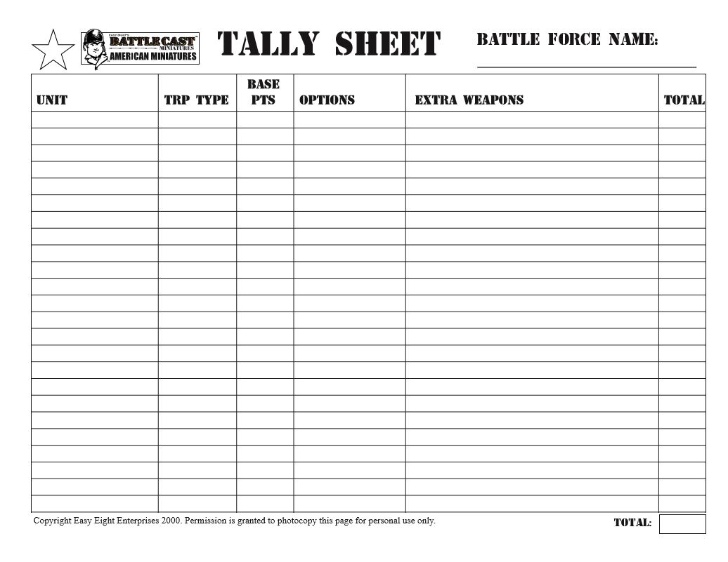 oldsarges wargame and model blog tally sheet for us forces easy eight. Black Bedroom Furniture Sets. Home Design Ideas