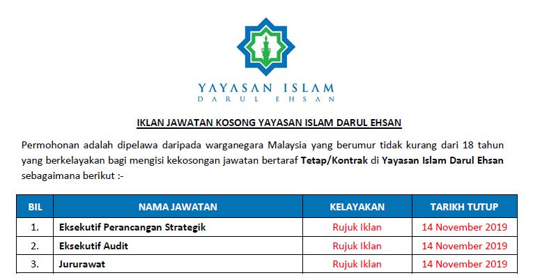 Jawatan Kosong Di Yayasan Islam Darul Ehsan