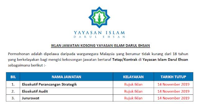 yayasan islam darul ehsan jawatan kosong