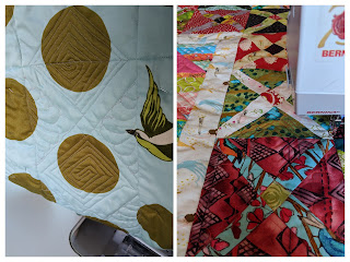 A collage of two photos showing machine quilting in progress on The Square Deal