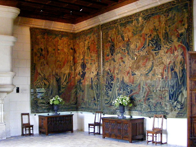 Two of the five Life at the Chateau series of 16C Flemish tapestries, Chateau of Chenonceau. Indre et Loire. France. Photo by Loire Valley Time Travel.